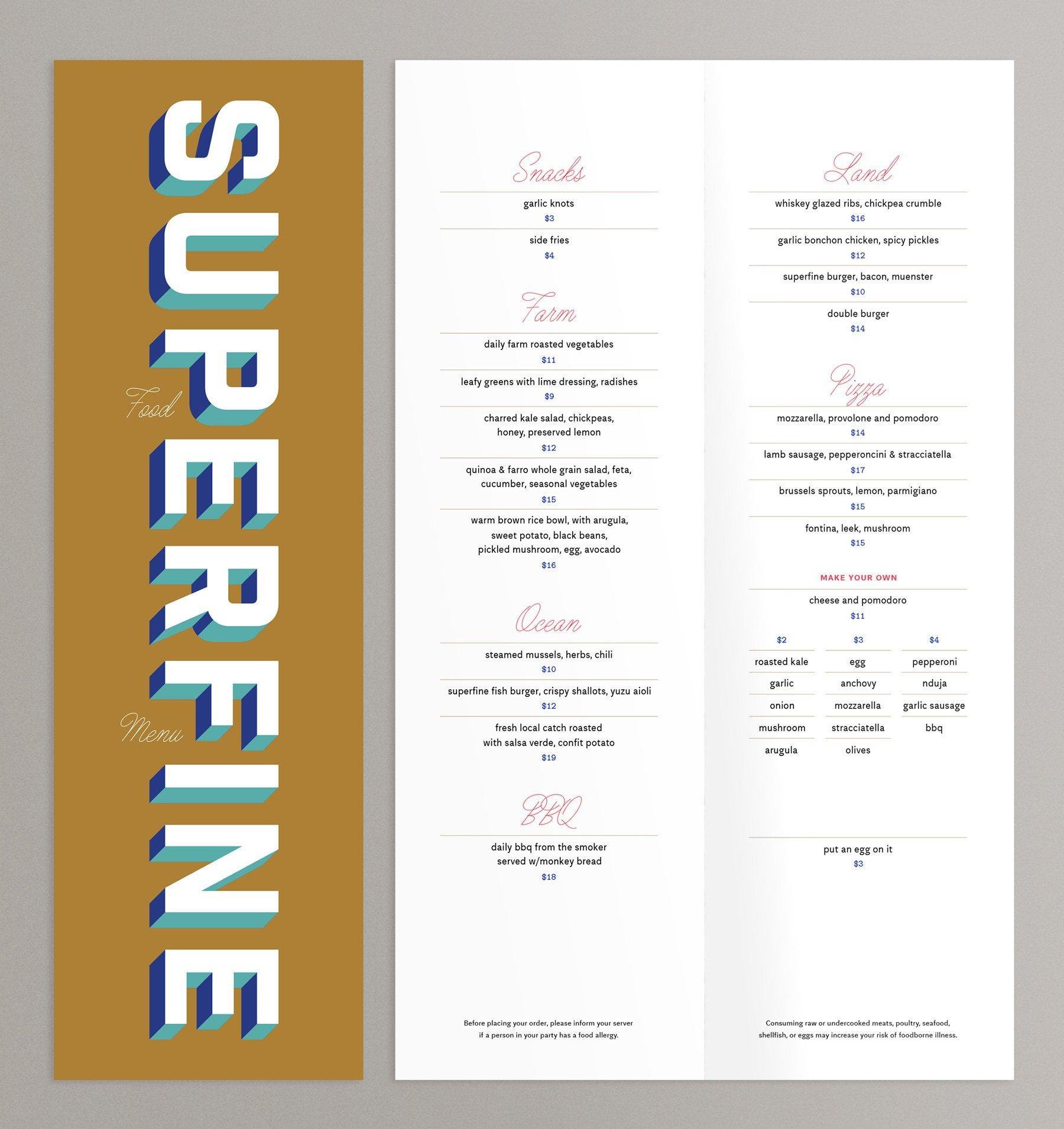 Superfine Food Menu